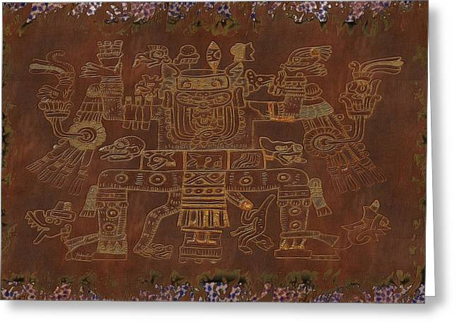 Sacrificial Mixed Media Greeting Cards - The Gods Aztec Tapestry Greeting Card by Sharon and Renee Lozen