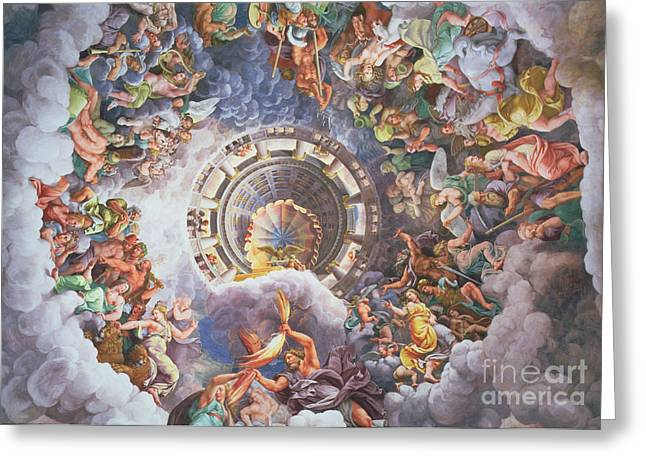 Religious Paintings Greeting Cards - The Gods of Olympus Greeting Card by Giulio Romano