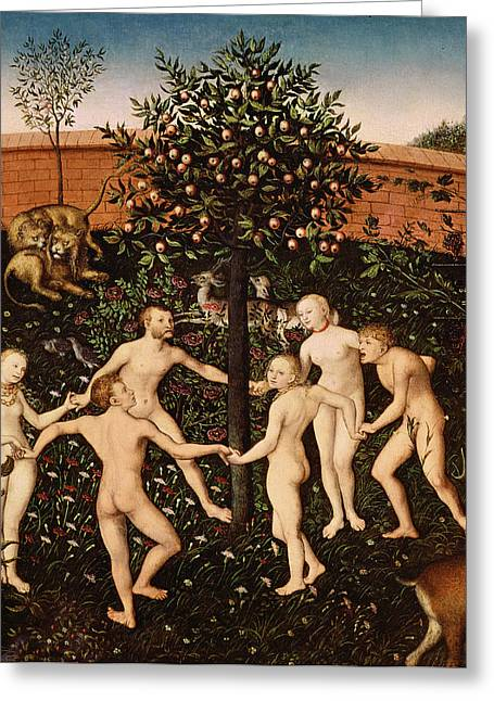 Apple Orchards Greeting Cards - The Golden Age Greeting Card by Lucas Cranach