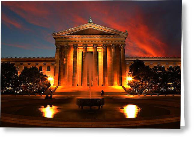 Philadelphia Phillies Art Greeting Cards - The Golden Columns - Philadelphia Museum of Art - Sunset Greeting Card by Lee Dos Santos