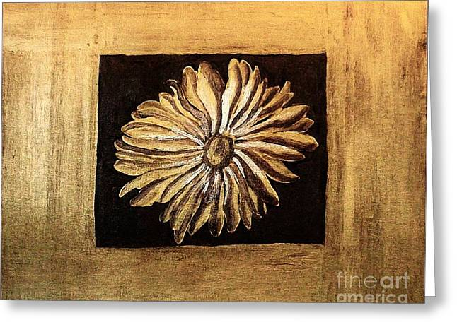 Wrapped Around Greeting Cards - The Golden Daisy Greeting Card by Marsha Heiken