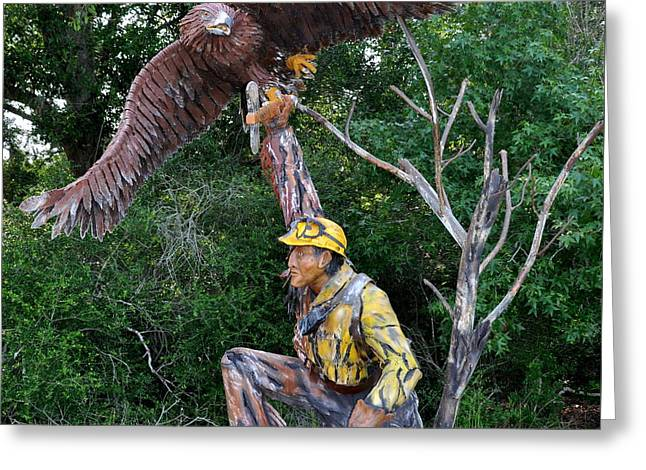 Fighters Sculptures Greeting Cards - The Golden Eagle Greeting Card by Larry Gardner