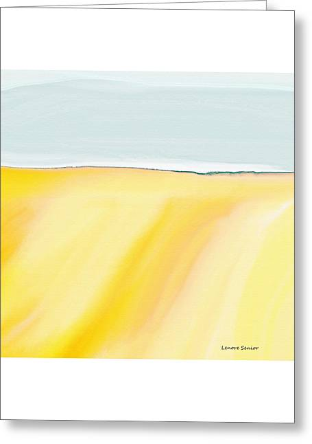 Blue Abstracts Greeting Cards - The Golden Fields Greeting Card by Lenore Senior
