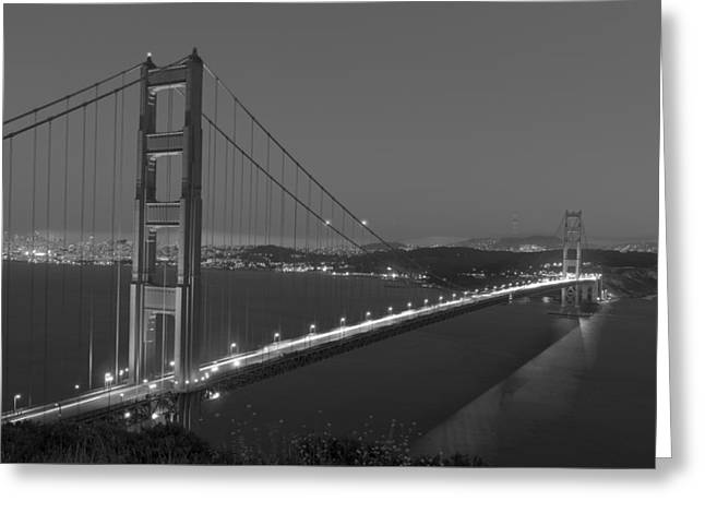 Famous Bridge Greeting Cards - The Golden Gate Bridge At Twilight Greeting Card by Mountain Dreams