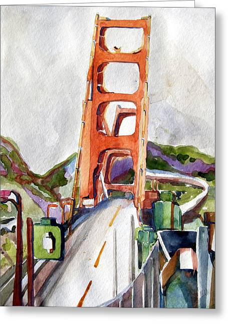 Driving Mixed Media Greeting Cards - The Golden Gate Bridge San Francisco Greeting Card by Mindy Newman
