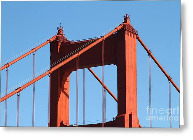 Steel Construction Greeting Cards - The Golden Gate Bridge Up Close . San Francisco California . 7D14537 Greeting Card by Wingsdomain Art and Photography