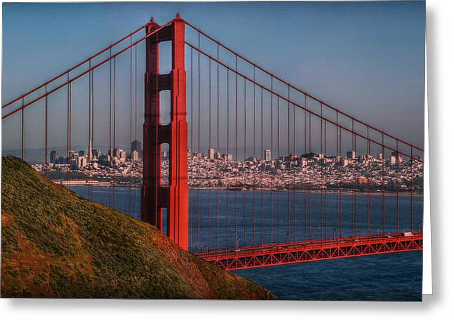 Sausalito Greeting Cards - The Golden Gate Greeting Card by Hanny Heim