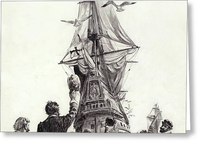 The Golden Hind  Greeting Card by CL Doughty