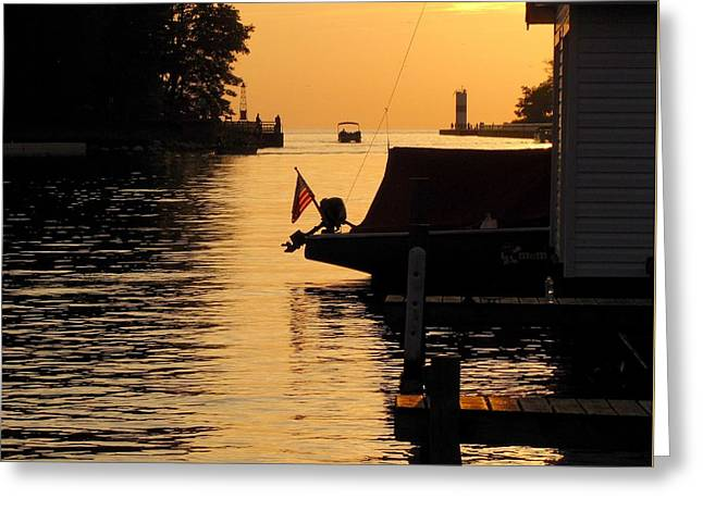 Boats At Dock Greeting Cards - The Golden Hour in Pentwater Greeting Card by Jane Greiner
