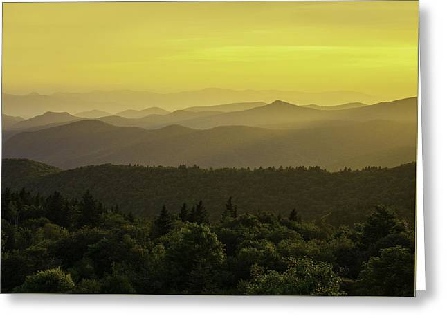 Southern Appalachians Greeting Cards - The Golden Hour Greeting Card by Johan Hakansson