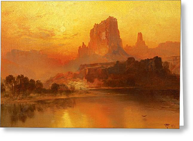 The Golden Hour  Greeting Card by Thomas Moran