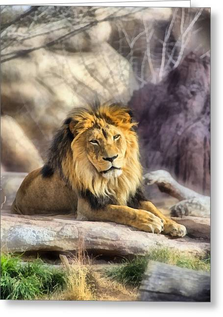Mane Mixed Media Greeting Cards - The Golden King 3 Greeting Card by Angelina Vick