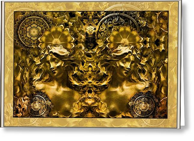 Mystic Art Greeting Cards - The Golden Muses  Greeting Card by Daniel  Arrhakis
