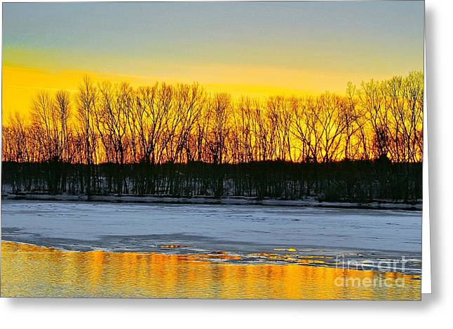 Snow Scene Mixed Media Greeting Cards - The golden pond Greeting Card by Robert Pearson