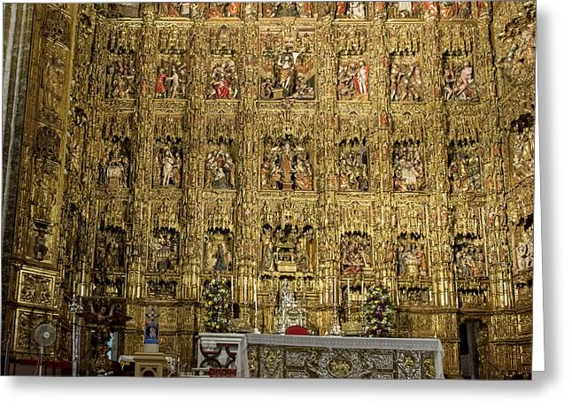 The Golden Retablo Mayor - Cathedral Of Seville - Seville Spain Greeting Card by Jon Berghoff