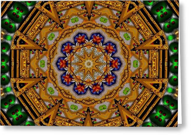 Tibetan Buddhism Mixed Media Greeting Cards - The golden sacred mandala in wood Greeting Card by Pepita Selles