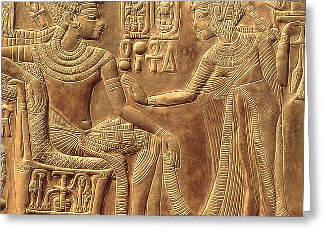 Reliefs Reliefs Greeting Cards - The Golden Shrine of Tutankhamun Greeting Card by Egyptian Dynasty
