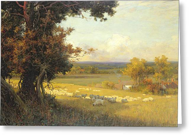 Rural Landscapes Paintings Greeting Cards - The Golden Valley Greeting Card by Sir Alfred East