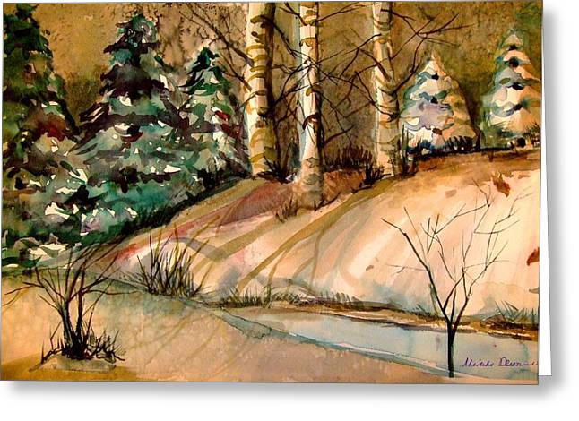 Pine Tree Drawings Greeting Cards - The Golden Woods Greeting Card by Mindy Newman