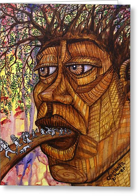 The Golder Treehead Greeting Card by Domania Power