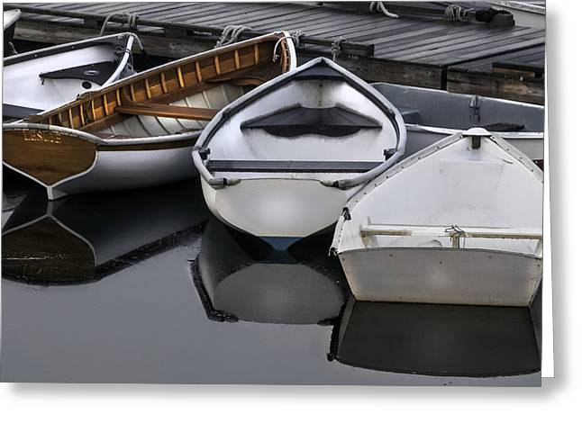 Skiffs On Placid Waters-coastal Maine Greeting Card by Thomas Schoeller