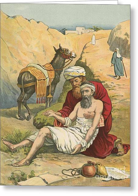 People Walking Greeting Cards - The Good Samaritan Greeting Card by English School