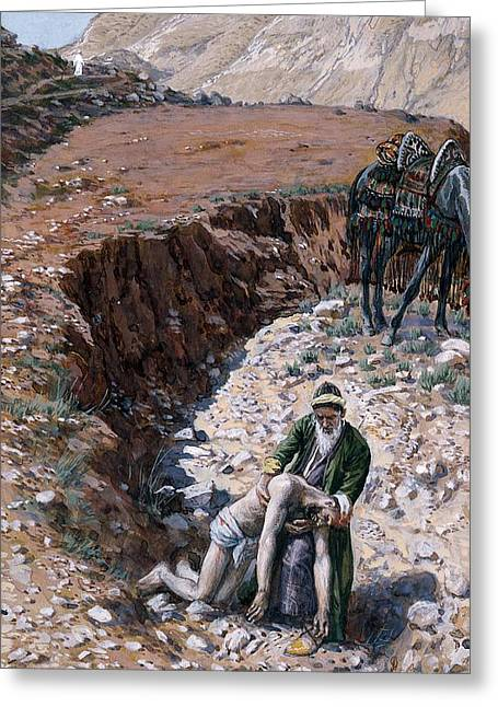 Lessons Paintings Greeting Cards - The Good Samaritan Greeting Card by Tissot