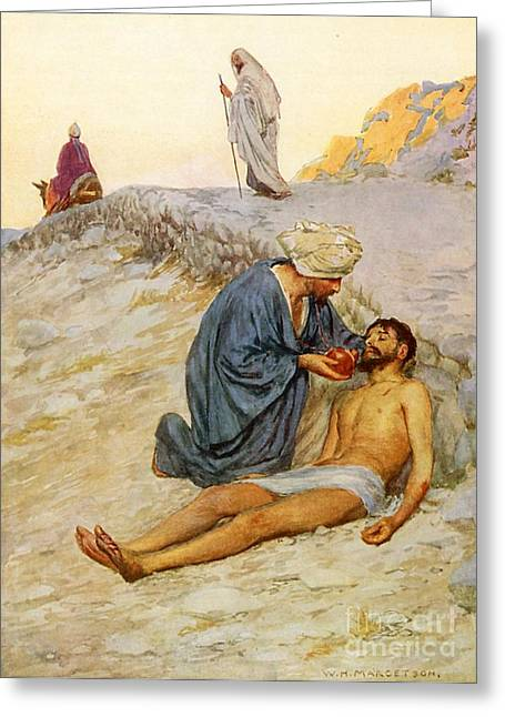 Parable Greeting Cards - The Good Samaritan Greeting Card by William Henry Margetson
