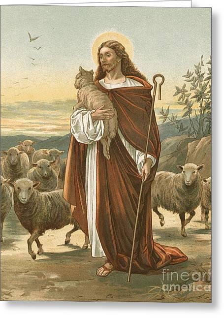 Crooked Greeting Cards - The Good Shepherd Greeting Card by John Lawson