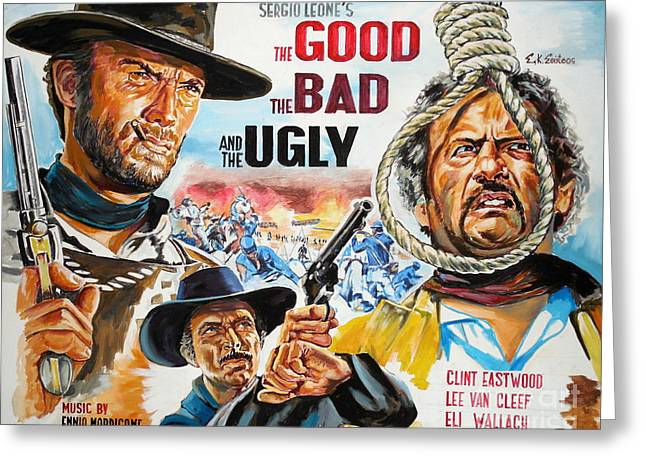 Italian Cinema Greeting Cards - Clint Eastwood The Good The Bad And The Ugly Greeting Card by Spiros Soutsos