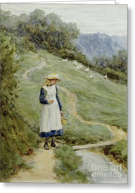 Tend Greeting Cards - The Goose-Girl  Greeting Card by Helen Allingham