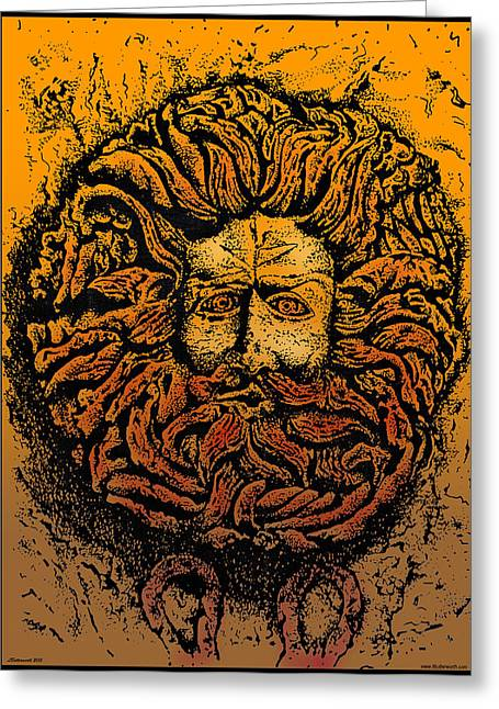 The Gorgon Man Celtic Snake Head Greeting Card by Larry Butterworth