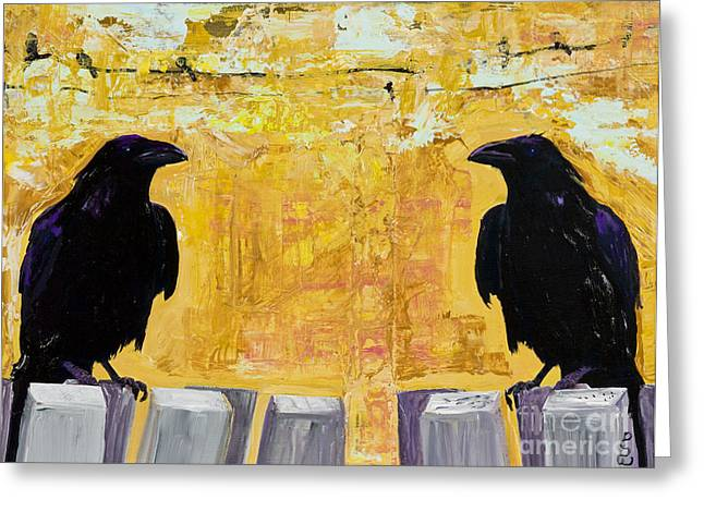 Crow Mixed Media Greeting Cards - The Gossips Greeting Card by Pat Saunders-White