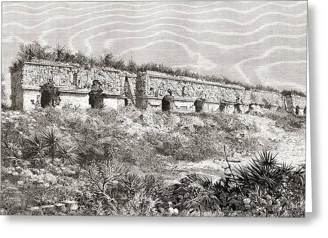 Restoration Drawings Greeting Cards - The Governor S Palace, Uxmal, Mexico Greeting Card by Ken Welsh