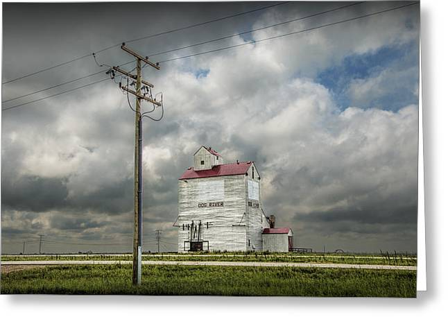 The Grain Elevator In Dog River Greeting Card by Randall Nyhof
