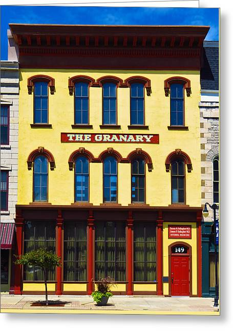 Grocery Store Greeting Cards - The Granary Building Greeting Card by Shawna  Rowe
