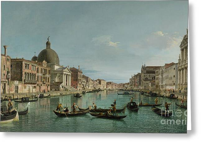 The Grand Canal In Venice With San Simeone Piccolo And The Scalzi Church Greeting Card by Canaletto