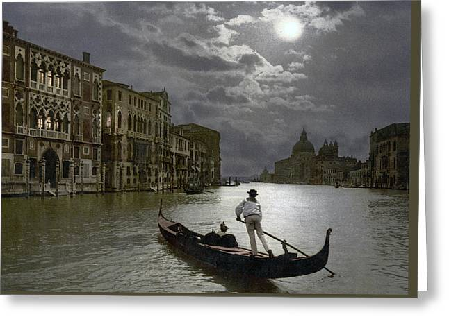 The Grand Canal Venice By Moonlight Greeting Card by Italian School