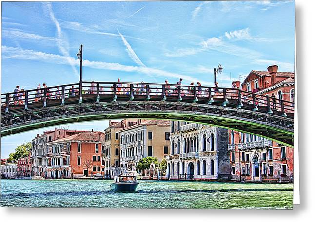 Blue Green Water Greeting Cards - The Grand Canal Venice Italy Greeting Card by Daphne Sampson