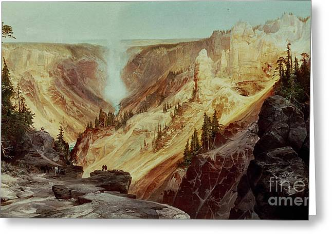 Geyser Greeting Cards - The Grand Canyon of the Yellowstone Greeting Card by Thomas Moran