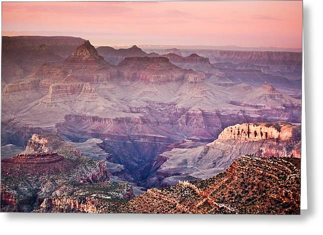 The Grand Canyon  South Rim at Dusk Greeting Card by Ryan Kelly