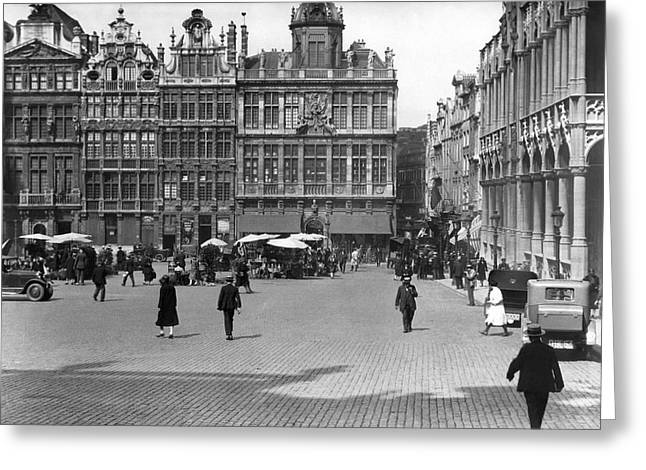 The Grand Place In Brussels Greeting Card by Underwood Archives