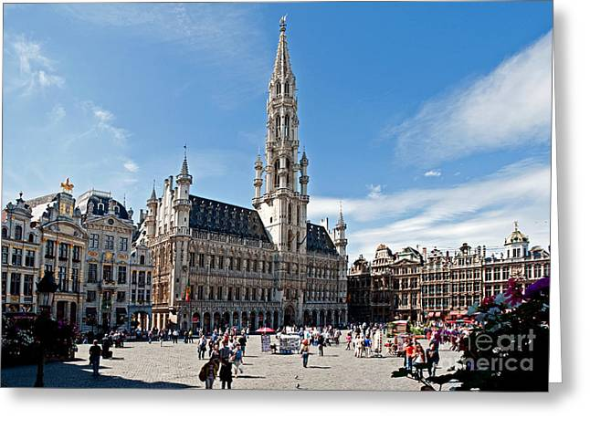 Markt Greeting Cards - The Grand Place Greeting Card by Jim Chamberlain