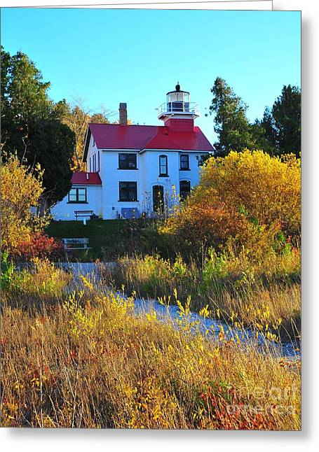 The Grand Traverse Lighthouse In Michigan Greeting Card by Terri Gostola