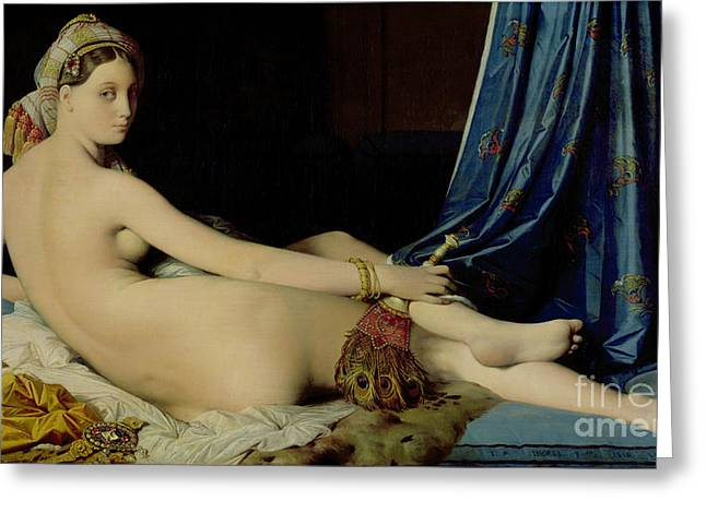Harem Paintings Greeting Cards - The Grande Odalisque Greeting Card by Ingres