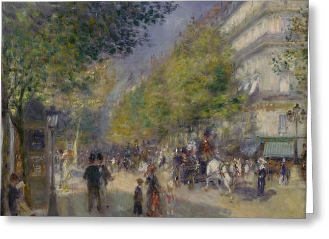 Renoir Greeting Cards - The Grands Boulevards Greeting Card by Auguste Renoir