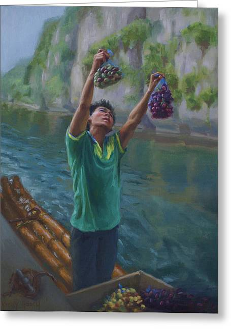 Chinese Minority Greeting Cards - The Grape Seller Greeting Card by Vicky Gooch