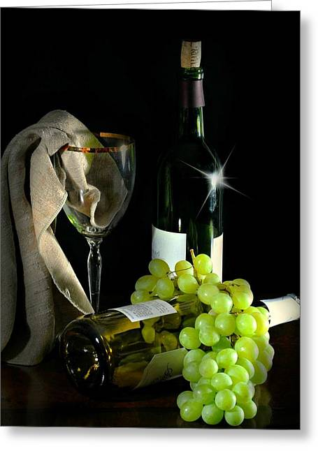 Table Wine Greeting Cards - The Grapes Greeting Card by Diana Angstadt
