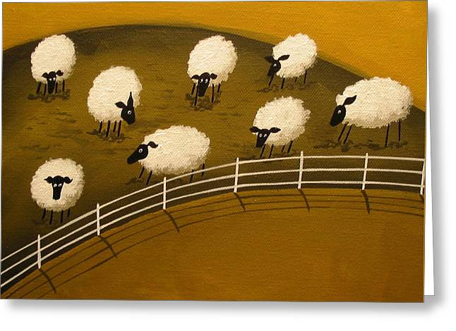 Folk Art Greeting Cards - The grass is sometimes greener - folk art Greeting Card by Debbie Criswell