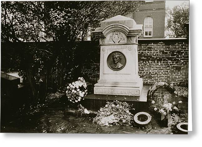 Gothic Horror Greeting Cards - The Grave of Edgar Allan Poe Greeting Card by Nat Herz